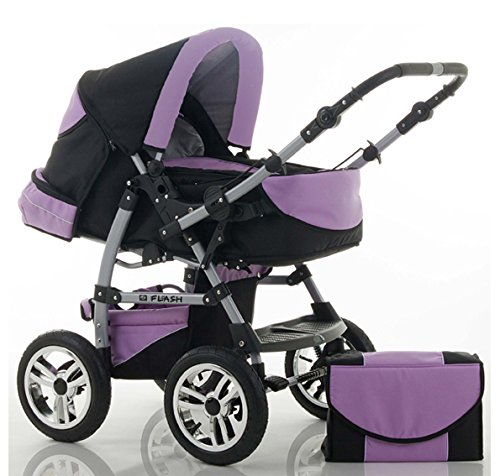 "14 teiliges Qualitäts-Kinderwagenset 2 in 1 ""FLASH\"" in 38 Farben: Kinderwagen + Buggy - 14 teiliges Megaset in 38 tollen Farben"
