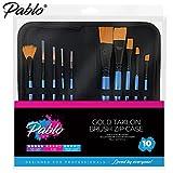 Pablo®–Set von 12Gold Taklon Pinsel Set mit Reißverschluss Fall. Ideal für Acryl-, Wasser Farbe, Öl- und Gouache Malen (10Taklon Pinsel)