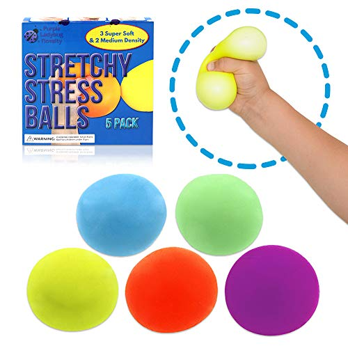 Stretchy Stress Balls for Kids and Adults! Sensory Stress Ball Set with 3 Super Soft Squishy Balls + 2 Medium Density Squeeze Balls for Anxiety Relief | Fun Fidget Toys for Children, Girls & Boys!