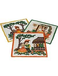 12 Stück Kinder Stoff Taschentücher Kindertaschentücher Set Größe 26x26 cm 100% Baumwolle Märchen Motive Design 4