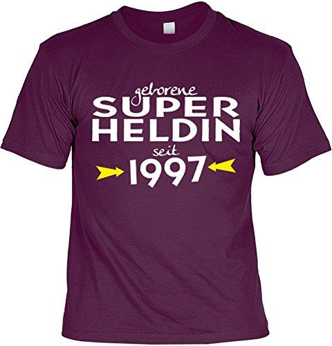 T-Shirt zum 20. Geburtstag Geschenk zum 20 Geburtstag 20 Jahre Geburtstagsgeschenk 20-jähriger Superheldin seit 1997 Bordeauxrot