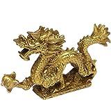 Chinesische Fenghsui-Drachenstatue aus Messing, magische und edle Drachenfigur, tolle Heimdekoration, BS077