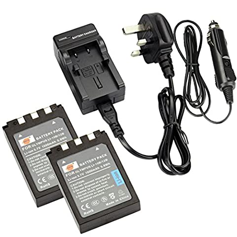 DSTE® 2x LI-10B Rechargeable Li-ion Battery + DC82U Travel and Car Charger Adapter for Olympus C-50 C-60 C-70 C-470 C-760 C-765 C-770 C-5000 C-7000 D-590 X-1 X-2 X-3 X-500 FE-200 IR-500 Stylus 300 400 410 500 600 800 810 1000 Digatal Camera as Olympus LI-12B