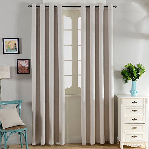 Top Finel Thermal Insulated Solid Faux Linen Blackout curtain Window Treatments Panels Grommets Top,Cream,54″x84″,Single Panel