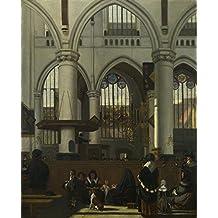 The Museum Outlet–Emanuel de Witte–L'Intérieur de la vieille Église, Amsterdam, Tendue sur toile Galerie enveloppé. 29,7x 41,9cm