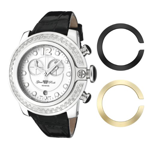 Glam Rock Women's GR32174D SoBe Chronograph Diamond Accented Black Shiny Leather Watch