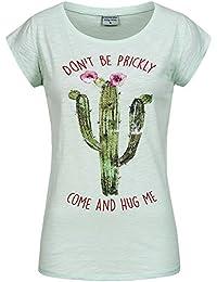 Stitch & Soul Damen T-Shirt Top Kaktus LSS-063 Pailletten Frontprint