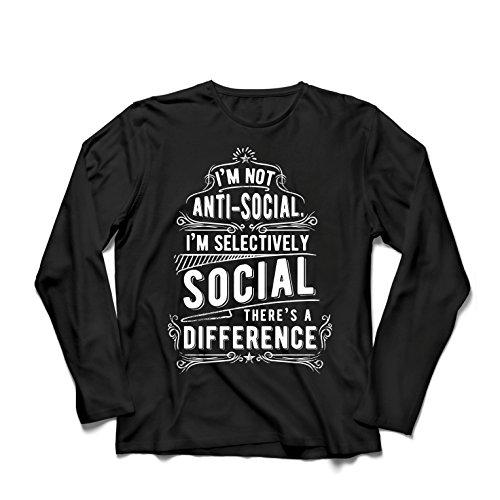 Camiseta de Manga Larga para Hombre No Soy Antisocial Solo selectivamente Social, Gracioso Diciendo, Citas de Humor sarcástico (X-Large Negro