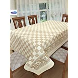 Clasiko 6 Seater PVC Table Cover; Light Brown Checks On White With Floral Border; Anti Slip; 60x90 Inches; 6 Seater