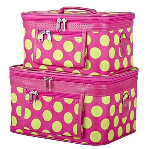 ever-moda-pink-and-green-polka-dots-cosmetic-makeup-train-case-2-piece-by-ever-moda