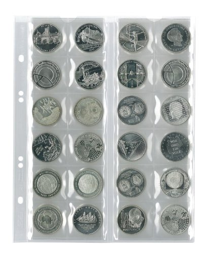 Multi collect Münzblätter für 24 Münzen bis 34 mm Durchmesser, Zwischenblätter schwarz, 5er-Packung Absolute Ssd