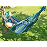 Inditradition Camping Brazilian Hammock | Rich Cotton Fabric Hanging Bed (197 x 80 cm) - Blue