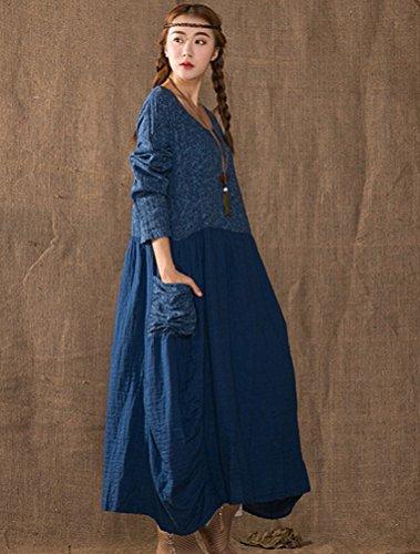 MatchLife Damen Loose Printing Kleider Navy Blau