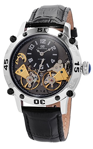 Grafenberg Men's Automatic Watch with Black Dial Analogue Display and Black Leather Bracelet GB200-122