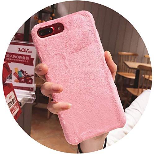 Villus Schutzhülle für iPhone XS Max XR X Cover Hard Smooth Plüsch Case für iPhone 8 Plus 6 6S 7 Plus, Pink, für iPhone 7 Plus