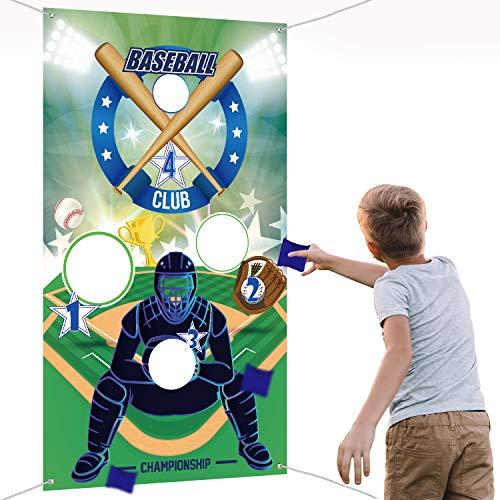 Baseball Werfen Spiele mit 3 Sitzsäcken, Indoor Outdoor Sitzsack Werfen Spiele für Kinder und Erwachsene Sport Thema Party Dekorationen - Einfache Baseball Kostüm