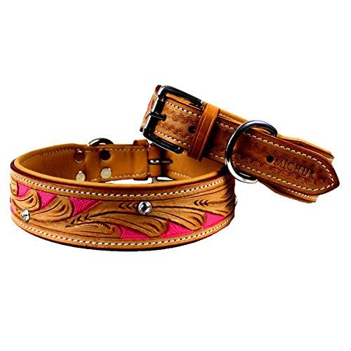 MICHUR Pinklady, Hundehalsband, Lederhalsband, Halsband, LEDER, BEIGE, PINK, MIT STANZUNGEN, in verschiedenen Größen erhältlich - 5