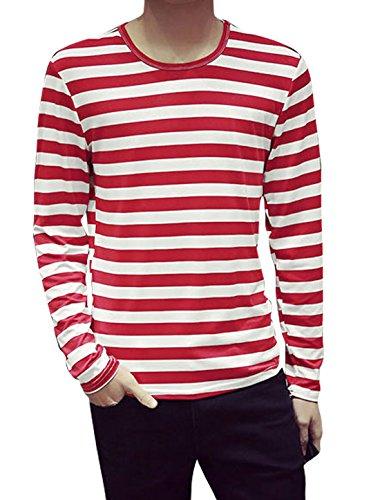 Large / US 44 , Red : Generic Men Long Sleeves Stripes Slim Fit Tee Shirt