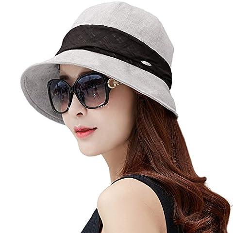 Siggi Femme Coton Capeline Pliable Chapeau de Soleil Réglable Bucket Nœud Bord Seau Eté Plage Voyage UPF UV Gris