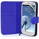 Generic Buch-Stil Imitat Leder Schutzh�lle mit Eingabestift f�r Samsung Galaxy S3 blau