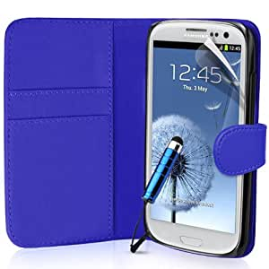 Generic Buch-Stil Imitat Leder Schutzhülle mit Eingabestift für Samsung Galaxy S3 blau