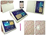 Emartbuy® Samsung Galaxy Tab Pro 10.1 Zoll Tablet ( T520 T525 ) Dunkel Rosa Eingabestift + Floral Rosa Wallet Schutzhülle Hülle Case Cover