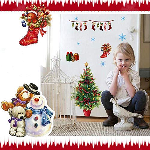 SUN-YUANYI Nuevo Snowflake Merry Christmas Snowman Sock Wall Sticker Vinyl Decal Window Decor