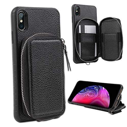 LUXCA Schutzhülle für iPhone XS Max; professionelles Leder-Etui mit Reißverschluss, Geldbörse, Handtasche, Handschlaufe, zum Aufstecken, schwarz - Handys Unlocked Att