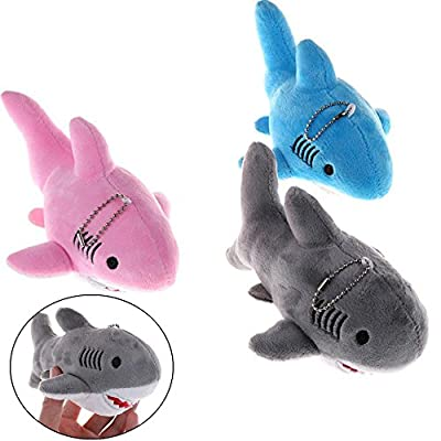 CosCosX 3 Pcs 7 inches Shark Plush Toy Keyring Key Chain Bag Pendant Decoration, Stuffed Animal Pillow Soft Dolls, Gray, Pink, Blue.