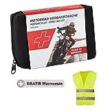 GoLab Motorrad Erste Hilfe Set - Klein und Kompakt, Verbandtasche Nach Din 13167 inkl. Warnweste für Alle europäischen Länder Geeignet (Österreich, Schweiz, Italien, Deutschland usw.)