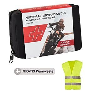 GoLab Motorrad Erste Hilfe Set – klein und kompakt, Verbandtasche nach DIN 13167 mit Warnweste für alle europäischen Länder geeignet (Österreich, Schweiz, Italien, Deutschland usw.)