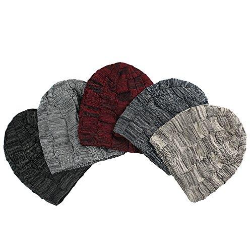 Hoverwings Femme et Homme Bonnet Crochet Chapeau Hiver Tricoté Cap a carreaux Fille-Capuchon de tas d'oreille Plus de cachemire (M(56-58cm)stretch, Gris) Rouge