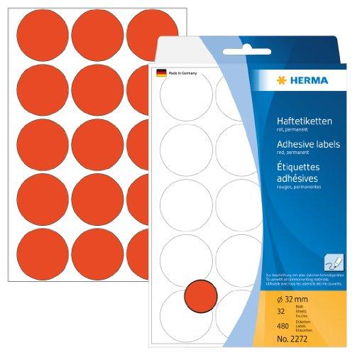 Matt Roter Oberfläche (Herma 2272 Vielzwecketiketten farbig, rund (Ø 32 mm, Papier matt) 480 Markierungspunkte, 32 Blatt, rot, selbstklebend, Handbeschriftung)