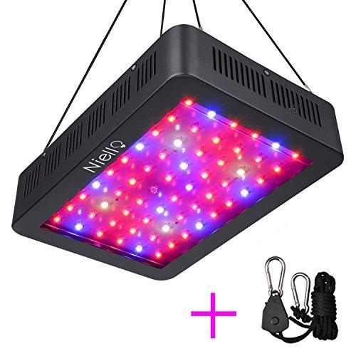 Niello 600W LED Pflanzenlampe Doppel-10W-Chips LED Grow Light Vollem Spektrum LED Wachstumslicht 60 LEDs Pflanzenlicht Grow Lamp mit UV & IR und mit Rope Hanger für Zimmerpflanzen,Gemüse und Blumen (Voll-spektrum-lampen-set)