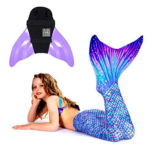 SUN TAILS Premium Meerjungfrauen Flossen Set zum Schwimmen Kostüm Aurora Borealis Monoflosse Keiki Kinder Nunui Erwachsene L Lavender