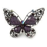 Große Kristall Schmetterling violett Ring in gealtertem Silber Tone Metall–70mm L–8Größe verstellbar