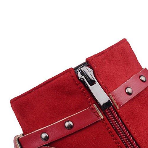 VogueZone009 Donna Cerniera Tacco Alto Pelle Di Mucca Bassa Altezza Stivali con Rivetto Rosso