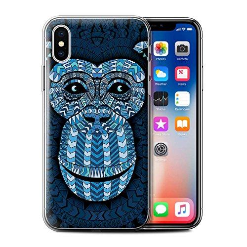 Coque Gel TPU de STUFF4 / Coque pour Apple iPhone 7 Plus / Loup-Bleu Design / Motif Animaux Aztec Collection Singe-Bleu