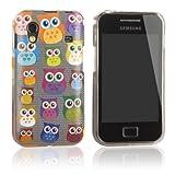 tinxi® Custodia case in silicone e TPU per Samsung Galaxy Ace S5830 S5830i case cover protettivo concezione speciale con motivo gufi variopinti/sfondo grigio