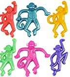12 x STRETCHY MONKEY Party Bag Stocking Filler Stretch Animal Novelty Pinata Toy