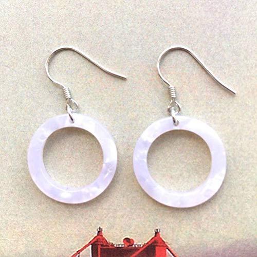 E-H Ohrring Dangler Eardrop Bolzenohrring Retro Übertrieben S925 Silber Ohrringe Hohle Ohrringe Exquisite Muster Harz Ohrbügel Runde Ohrringe Acetat Schmuck für Frauen