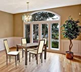 #3: Cozyhomz Dining table set 4 seater wooden top, High back chair with fabric upholstered seating - Hillis