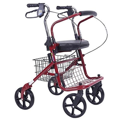 XXWW Zusammenklappbarer Allrad-Rollator-Gehhilfe Mit Gepolstertem Sitz, 2-in-1-Rollator-Rollstuhl-Kombi-Rollator-Gehhilfe Einkaufswagen des Alten Mannes (Color : Red)