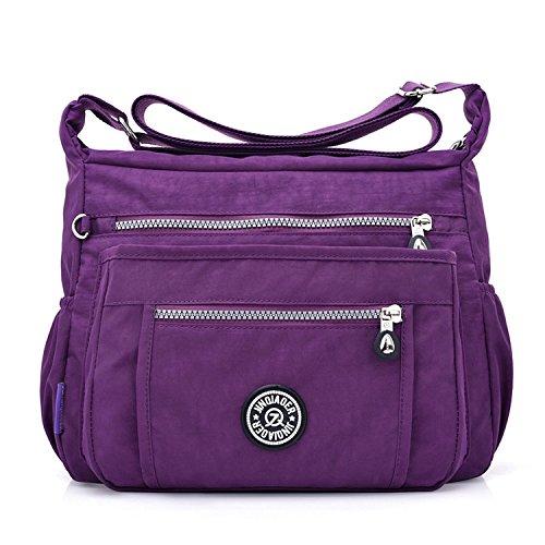 Outreo Schultertasche Damen Umhängetasche Mode Kuriertasche Lässige Taschen Reisetasche Leicht Büchertasche Strandtasche Sporttasche für Design Messenger Bag - Lila Designer-handtasche