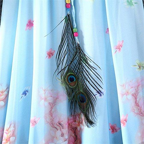 Kaxuyiiy Donne Boemia piuma di pavone la pittura spiaggia elastico in vita casuale maxi Gonna lunga Long Skirt Cielo blu