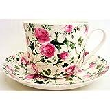 Grande tasse et soucoupe pour petit déjeuner en porcelaine Motif fleuri Décorées à la main Motif Roses et lierre
