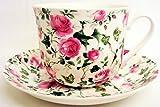 Ivy Rose Tasse et soucoupe pour petit déjeuner en porcelaine fine Roses Grande tasse et soucoupe décorée à la main au Royaume-Uni Livraison gratuite au Royaume-Uni