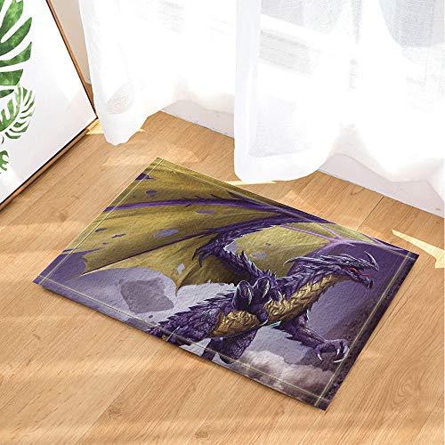 fdsdatrfet Lila Warcraft Dinosaurier Gelbe Flügel Elf Mystery Game Halloween Ostern Bad Anti-Rutsch Leicht zu Waschen Sofort Trocknend Schlafzimmer Matte Weiche Faltbare Veranda Pad Wohnzimmer Matte
