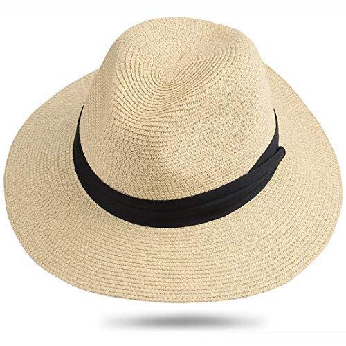 Maylisacc Panama Hut Herren Damen Sommer Fedora Strohhut Rollbar UV Sonnenhut 59-60cm (Beige SZ) (Herren Fedora-hut Beige)
