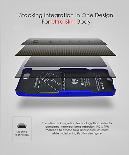 Ultra Fin Coque Batterie Externe Pour iPhone 6 Plus/6S Plus Wireless Power étui de chargement - Stacking Power Protection Smart Case - Noir Bleu
